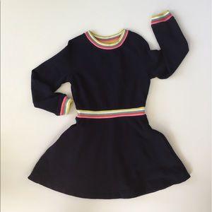 Mini Boden Navy Rainbow Stripe Sweatshirt Dress